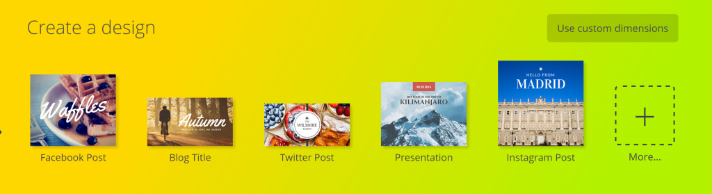 Canva Screenshot on how to get started on twitter