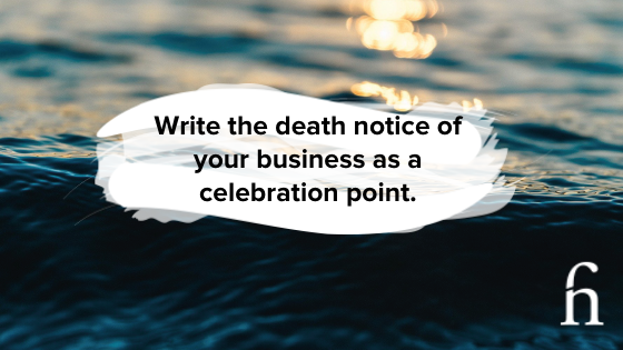 Write the death notice as a celebration point