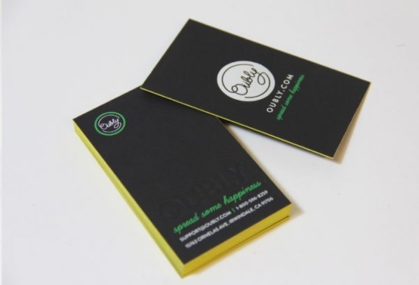 Oubly yellow painted edge business cards